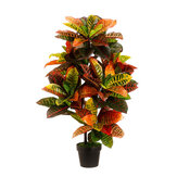 43'' Artificial Croton Outdoor UV Topiary Tree Bush Palm Plant Pot Pool Patio Decorations