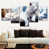 5Pcs White Lion Canvas Print Paintings Wall Art Picture Home Room Decor Unframed
