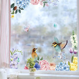 Miico FX82025 2PCS Flower And Bird Printing Wall Stickers Glass Stickers Home Decorative Stickers DIY Sticker
