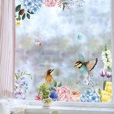 Miico FX82025 2PCS Pegatinas de pared de impresión de flores y pájaros Pegatinas de vidrio Pegatinas decorativas para el hogar DIY Pegatina