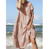 Women Summer Beach Cotton Loose Casual Dress with Pockets