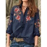 Buttons Flower Embroidered Shirts