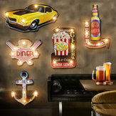 Decorazioni per la casa LED Targhe in metallo LED Targa in metallo vintage Targa Bar Pub Club Decorazioni per la casa in lamiera LED