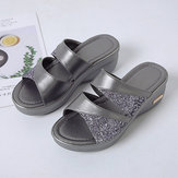 Women Sequined Splicing Comfy Summer Wedge Sandals