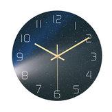 Loskii CC024 Criativo Estrelado Padrão Parede Relógio Parede Mudo Relógio Parede de quartzo Relógio Para decorações de escritório em casa