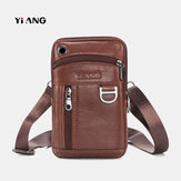 Men Genuine Leather Crossbody Bag Waist Bag Phone Bag