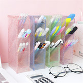 Transparent Obliquely Inserted Pen Pencil Holder Desktop Organizer Plastic Makeup Brushes Lipsticks Storage Box Stationery Holder