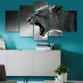 5 Panels HD Canvas Wolf Tiger Paintings Prints Home Room Unframed Picture Art Wall Decor