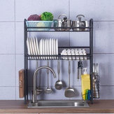 Double Layer Shelf Dish Stainless Holder Steel Sink Drain Rack Kitchen Cutlery Drying Drainer Kitchen Storage Rack