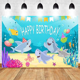 Shark Photography Tło Baby Shower Party Birthday Ocean Sea Background Dekoracje świąteczne