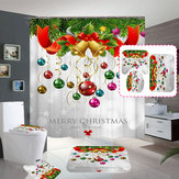 Merry Christmas Bell Waterproof Bathroom Shower Curtain Bath Mats Toilet Cover