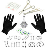 41PCS Body Piercing Tool Kit Orelha Nariz Umbigo Nipple Needle Set