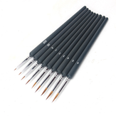 9 PCS Oil Painting Brush Wood Handel Weasel Hair Different Size Hook Line Pen for Acrylic Painting