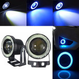 2PCS 30W LED Car Fog Lights White with 2.5/3/3.5 Inch COB Angle Eyes Halo Ring Bulb Ice Blue Universal
