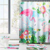 180x180cm 4pc Colorful Flamingo Shower Curtain Non-Slip Rug Lid Toilet Cover Bath Mat Mildewproof防水バスルームラグセット