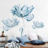 2pcs Grande Flor Azul DIY Adesivos de Parede Art Stickers Vinyl Quote Decal Home Decor