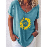 Sunflowers V-neck Loose Summer Plus Size Blouse