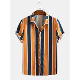 メンズサマーヒットカラーストライプダウンカラーカジュアルシャツ