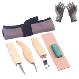 6pcs Woodcarving Cutter Set DIY Hand Chisel Wood Carving Tool Chip Cutter with Cut-proof Gloves Craft