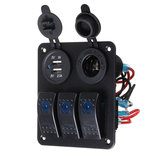 12V-24V 2.1A + 1A 3 Gang Rocker Switch Panel ON OFF Tomada Dual USB para carro Marine Boat RV