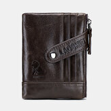 Men Genuine Leather Retro Vintage Zipper Coin Wallet