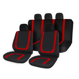 Full Set Car Seat Cover Polyester For Auto Truck SUV 5 Heads Red&Black