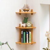 MUMAREN 1/2 Tiers Bamboo Fan Shaped Corner Bookshelf Storage Rack Wall-mounted Wooden Corner Desk Shelf