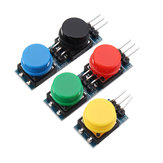 15Pcs 12x12mm Key Switch Module Touch Tact Switch Push Button Non-locking With Cap Red/Black/Yellow/Green/Blue