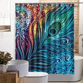 Перо павлина Ванная комната Занавеска для душа Полиэстер Ткань Печатная Водонепроницаемы Занавеска для ванной с 12 крючками