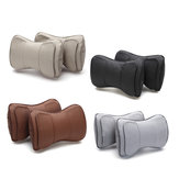 2pcs Leather Double Layer Car Autos Seat Headrest Neck Rest Pillow Cushion