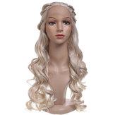 24 '' Damen Natural Wavy Lace Front Perücke Mädchen Golden Blonde C