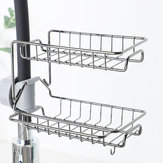 2 Layers Drain Rack Kitchen Sink Faucet Sponge Soap Cloth Storage Drying Holder