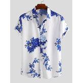 Camisas casuais com gola virada para baixo de manga curta estampada floral masculina em porcelana estilo chinês