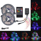 5M 10M 3528 RGB Music Sync Spraakbesturing LED Strip Light + 22Keys IR Afstandsbediening of 3A EU US Voedingsadapter