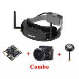 Eachine EV200D True Diversity FPV Goggles Black TX1200 FPV Transmitter Bat 19S FPV Camera 2.3mm Eachine K-Loverleaves Antenna RP-SMA Combo
