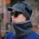 Lana para hombre Sombrero Orejeras cálidas Plus Bufanda de punto engrosamiento Sombrero