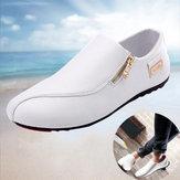 Deslizamento respirável com zíper para homens em sapatos casuais antiderrapantes