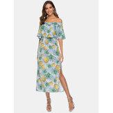 वीमेन ऑफ शोल्डर फ्लोरल प्रिंट स्प्लिट कॉसल मिडी ड्रेस