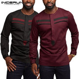 Men's Long Sleeve Paneled Striped Fitted Casual Shirts
