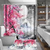 Sakura Snow Mountain 1/3/4 Pcs Impermeable Cortina de ducha Cubierta de inodoro Mat Cuarto de baño Juego de alfombras antideslizantes