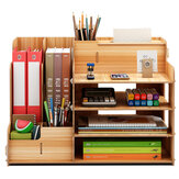 B07-L Desktop Wooden Storage Box Multi-layer Storage Racks File Books Shelf Bookshelf Pens Pencils Holder Organizer