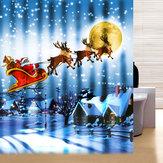 Style de Noël imperméable polyester rideau de douche dessin animé père noël motif père avec crochets