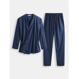 Men Polka Dot Kimono Robe Set Thin Loose Breathable Home Cas