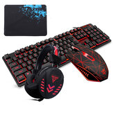 104 Tasten Gaming-Tastatur Wasserdichtes Design USB-Kabel Multimedia RGB-Hintergrundbeleuchtung und LED Gaming-Kopfhörer und 3200DPI LED Gaming-Maus-Sets mit Mauspad