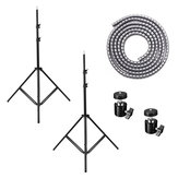 A Pair 2M 7ft Adjustable Video Ring Light Umbrella Lighting Tripod Stand Holder with 5M Strap