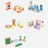Doll House Miniature Wooden Furniture Bathroom Kitchen Living Room Bedroom Set Kid Toys