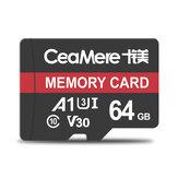 Carte mémoire Ceamere 32GB/64GB C10 Carte TF haute vitesse Stockage de données MP4 Carte MP3 pour enregistreur de conduite automobile Moniteur de sécurité Caméra Caméra Haut-parleurs