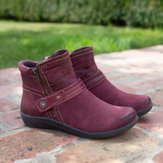 Women Large Size Slip Resistant Solid Casual Ankle Boots