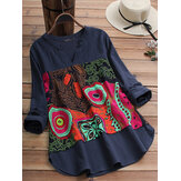 Women Cotton Vintage Folk Style Print V-Neck  Blouse