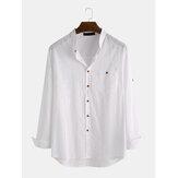 メンズファッションソリッドカラー通気性シングルブレストシャツ